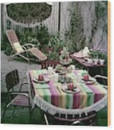 A Garden Set Up For Lunch Wood Print