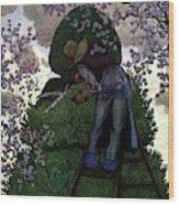 A Gardener Pruning A Tree Wood Print