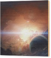 A Gas Giant Partly Hidden In A Nebula Wood Print