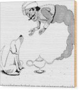 A Genie Has Emerged From A Genie Lamp Wood Print