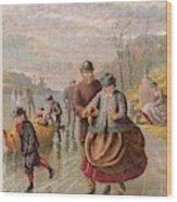 A Gentleman Helps A Lady Skate Wood Print