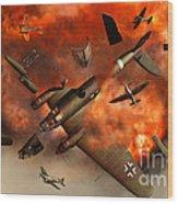 A German Heinkel Bomber Plane Blowing Wood Print