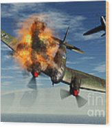 A German Heinkel Bomber Plane Crashing Wood Print