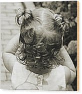 A Girl And Her Curls Wood Print