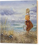 A Girl And The Ocean Wood Print