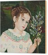 A Little Girl With Flowers Wood Print