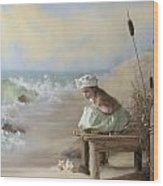 A Girl Posed By The Seashore Victoria Wood Print
