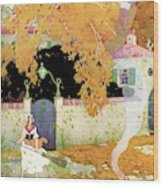 A Girl Sweeping Leaves Wood Print