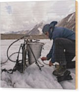 A Glaciologist Tinkers With A Steam Wood Print