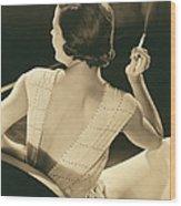 A Glamourous Woman Smoking Wood Print