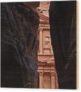 A Glimpse Of Al Khazneh From The Siq In Petra Jordan Wood Print