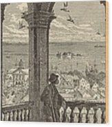 A Glimpse Of Charleston And Bay From St. Michael's Church 1872 Engraving By Harry Fenn Wood Print by Antique Engravings