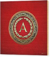 A - Gold Vintage Monogram On Red Leather Wood Print