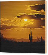 A Golden Southwest Sunset  Wood Print
