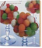 A Gourmet Cover Of Melon Balls Wood Print