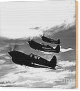 A Group Of P-40 Warhawks Fly Wood Print