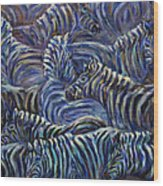 A Group Of Zebras Wood Print