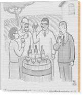 A Group Sample Wine At A Wine Tasting Vineyard Wood Print