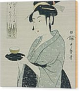A Half Length Portrait Of Naniwaya Okita Wood Print