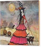 A Halloween Stroll Wood Print by Molly Harrison