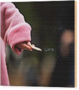A Hand Holding A Cigarette Wood Print