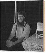 A Happy Amish Guy Wood Print