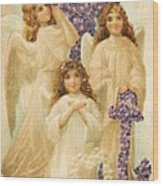 A Happy Easter 1908 German Postcard Wood Print