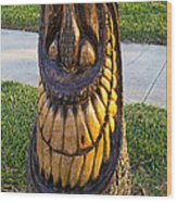 A Happy Tiki From A Palm Tree Stump Wood Print