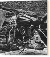 A Harley Davidson And The Virgin Mary Wood Print