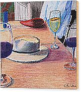 A Hat And Wine Wood Print