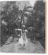 A Hawaiian Woman Dancing Wood Print