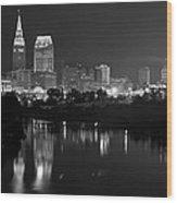 A Hazy Cleveland Night At Progressive Field Wood Print