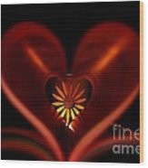 A Heart With Flower. Wood Print by Dipali S