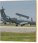A Hellenic Air Force Emb-145 Awacs Wood Print