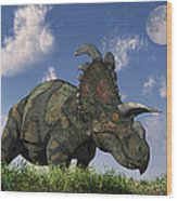 A Herd Of Albertaceratops Grazing Wood Print