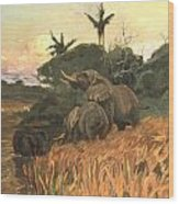 A Herd Of Elephants By Moonlight Wood Print