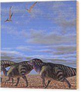A Herd Of Parasaurolophus Dinosaurs Wood Print