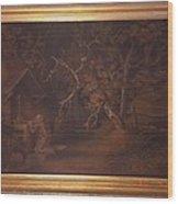 A-hermit-praying-at-a-wayside-shrine-by-benjamin-zobel Wood Print