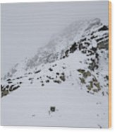 A Hiker Approaches A Snowy Peak Covered Wood Print