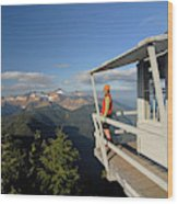 A Hiker Enjoys The View Wood Print