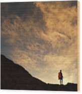 A Hiker Standing On A Ridge At Sun Rise Wood Print