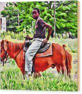 A Horse In Philly Wood Print