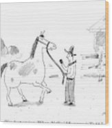 A Horse Speaks To A Cowboy Trying To Calm Wood Print