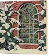 A House And Garden Cover Of A Christmas Tree Wood Print
