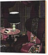 A House And Garden Cover Of A Lamp By An Armchair Wood Print