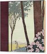 A House And Garden Cover Of A Rural Scene Wood Print