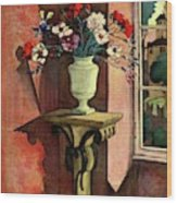 A House And Garden Cover Of A Vase Of Flowers Wood Print