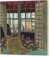 A House And Garden Cover Of A Wicker Chair Wood Print