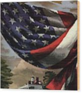 A House And Garden Cover Of An American Flag Wood Print