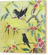 A House And Garden Cover Of Chickadees Wood Print